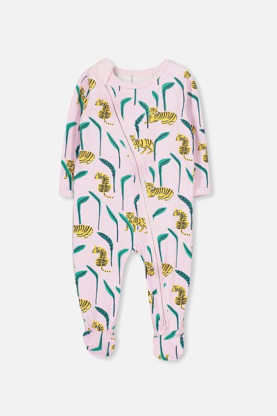 Sleep Mini Zip All In One Jumpsuit, CRADLE PINK/LEOPARD JUNGLE