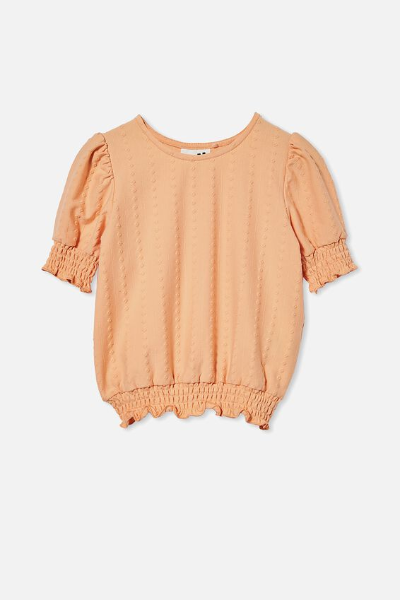 Poppy Shirred Short Sleeve Top, PEACHY