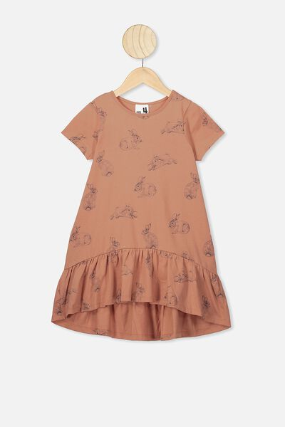 Joss Short Sleeve Dress, DUST STORM/BUNNIES