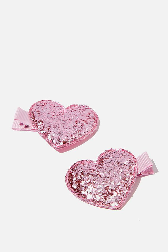 Hair Clips, PINK HEARTS