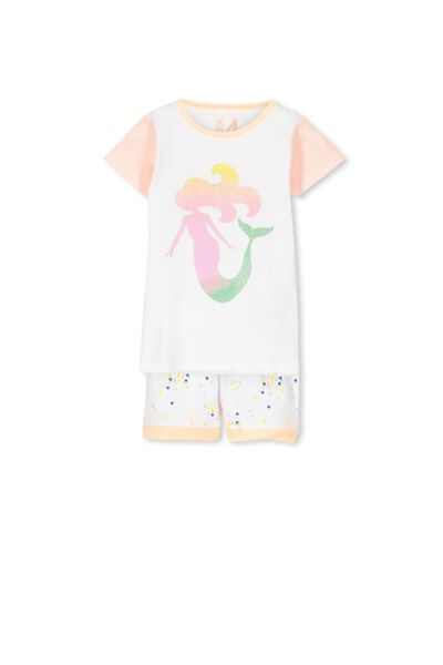 Chloe Short Sleeve Girls Pj Set, MERMAID CONFETTI