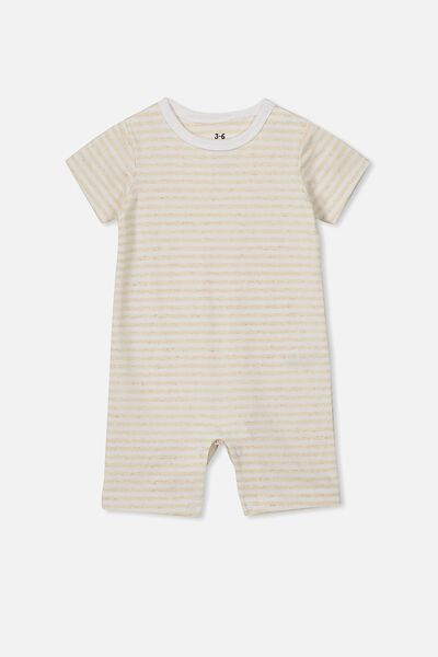 The Short Sleeve Romper, CHRIS STRIPE CARAMEL MARLE/WHITE