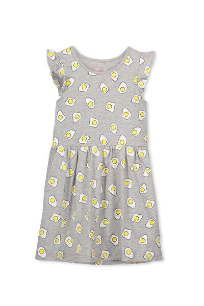 Maxie Dress, LT GREY MARLE/FRIED EGGS