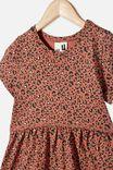 Freya Short Sleeve Dress, CHUTNEY/GOLD SNOW LEOPARD