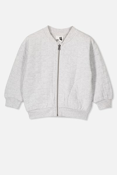 Marin Bomber Zip Through, SUMMER GREY MARLE/QUILTED TEXTURE