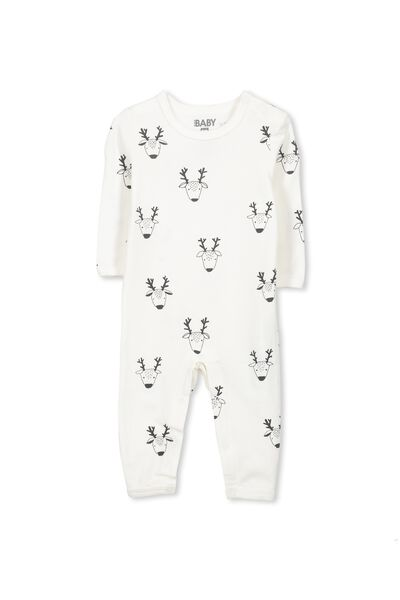 Mini Long Sleeve Snap Bodysuit, VANILLA/DEER FACES