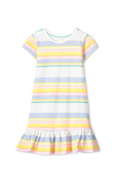 Elisha Short Sleeve Dress, VANILLA/MULTI STRIPE