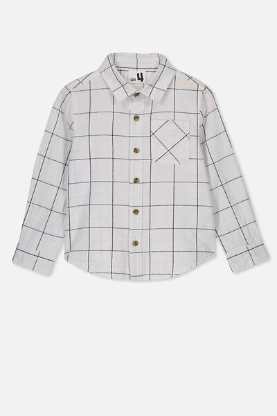 Prep Long Sleeve Shirt, WHITE WINDOW PANE CHECK