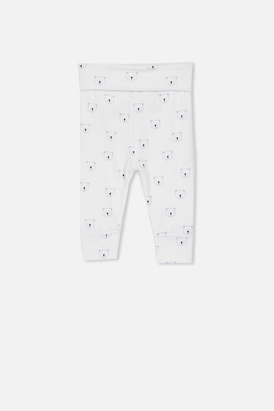 Newborn Essentials Legging, PURE WHITE/WINTER SKY BEARS