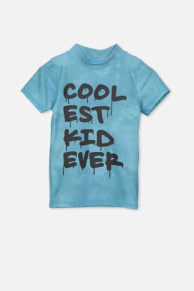 Finley Short Sleeve Rash Vest, SHELL BLUE/COOLEST KID