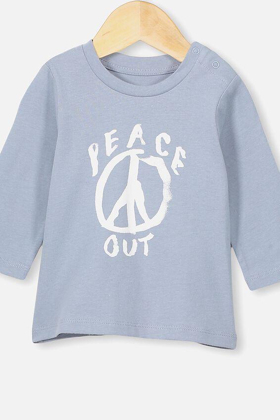 Jamie Long Sleeve Tee, RAIN CLOUD/PEACE OUT