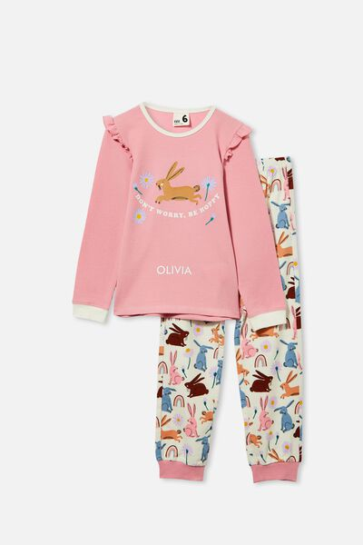 Edith Long Sleeve Pyjama Set Personalised, BE HOPPY/MARSHMALLOW