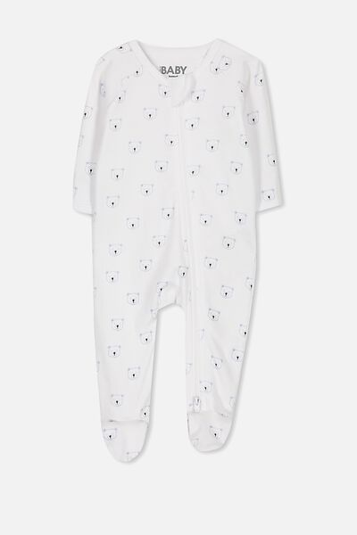 Newborn Long Sleeve Zip Through Romper, PURE WHITE/WINTER SKY BEARS