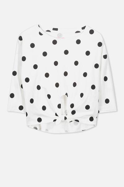 Chloe Long Sleeve Top, VANILLA/BLACK SPOT
