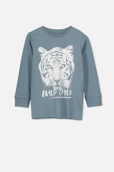 Tom Long Sleeve Tee, DEEP POOL BLUE/WILD CHILD
