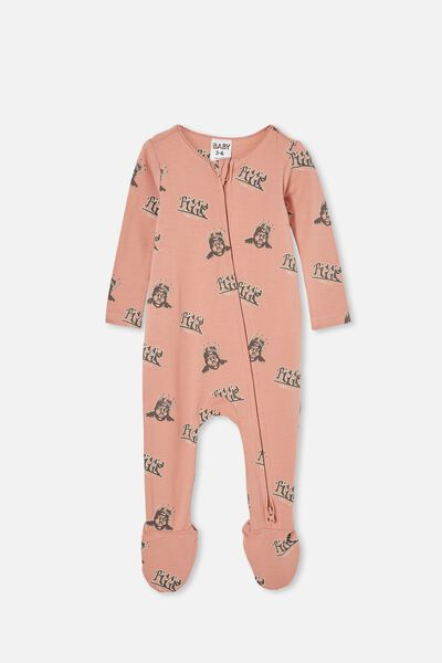 The Snug Long Sleeve Zip Romper Lcn, LCN MT CLAY PIGEON/BIGGIE GRAFFITI