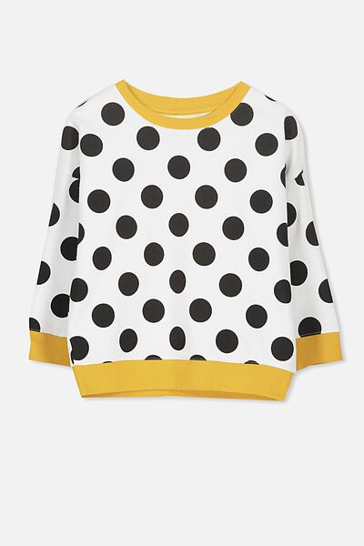 Sage Crew, WHITE LARGE SPOTS/DROP SHOULDER