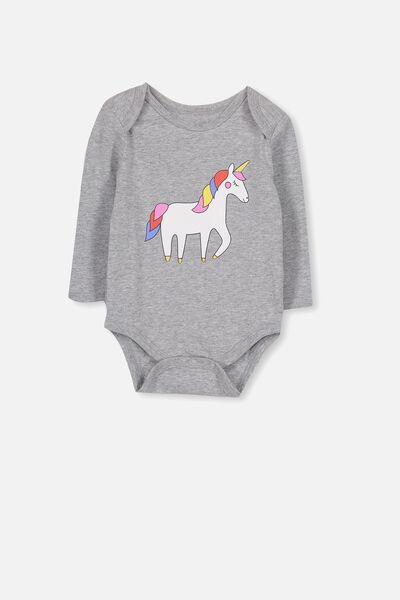 Mini Long Sleeve Bubby, GREY MARLE/UNICORN