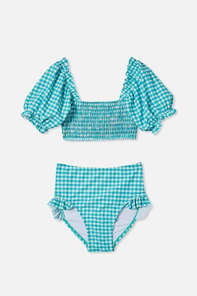 Primrose Puff Sleeve Bikini, TROPICAL AQUA GINGHAM