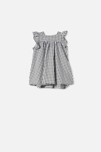 Annie Flutter Sleeve Dress, BEETLE GREEN/MINI GINGHAM