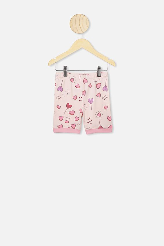 Nikki Short Sleeve Pajama Set, CRYSTAL PINK/SWEET HEARTS