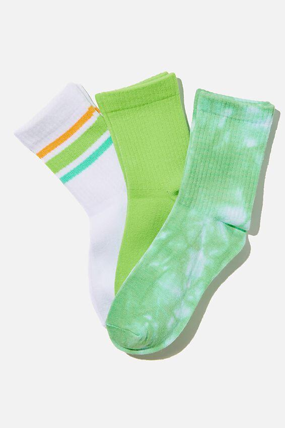 Kids 3Pk Crew Socks, GREEN TIE DYE