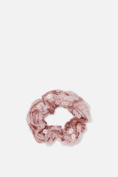 Bow Scrunchie, PINK SEQUIN