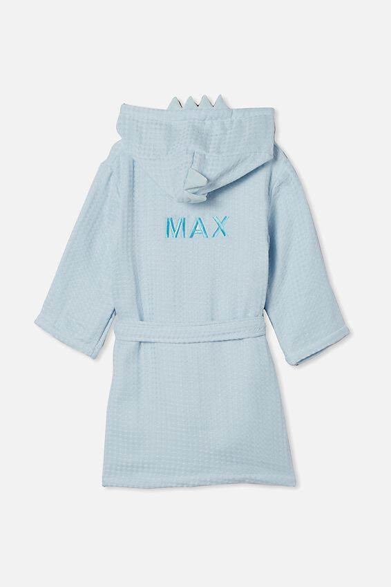 Boys Long Sleeve Gown - Personalised, FROSTY BLUE DINOSAUR