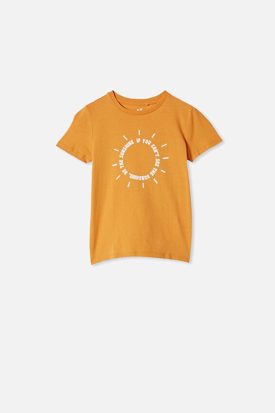 Penelope Short Sleeve Tee, BURNT SQUASH/POSITIVE VIBES