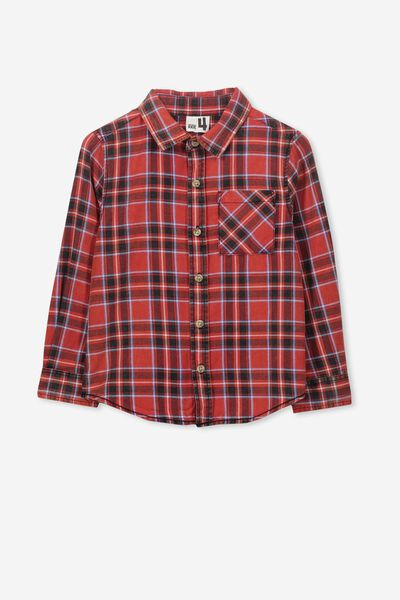 Noah Long Sleeve Shirt, RALLY RED CHECK SW