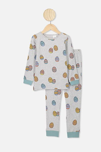 Billie Ls Unisex Pj, SUMMER GREY MARLE/EASTER EGG MULTI