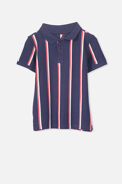 Kenny3 Polo, NAVY/RED VERTICAL STRIPE