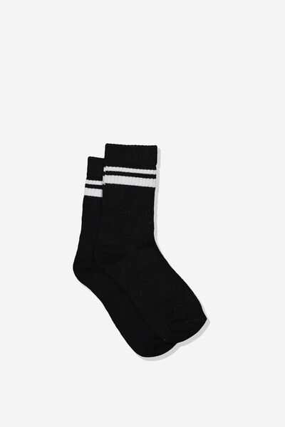 Retro Rib Crew Sock, BLACK/WHITE STRIPE