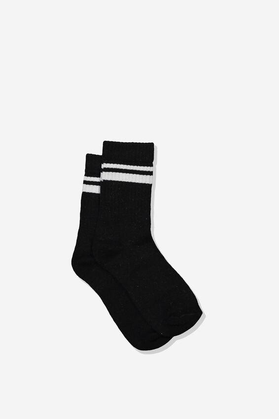 Retro Rib Crew Sock, BLACK/WHITE STRIPE