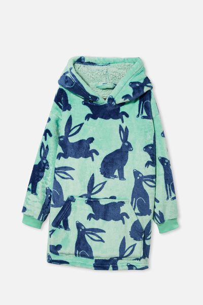 Personalised Snugget Kids Oversized Hoodie, BUNNY SILHOUETTE/MINT BREEZE