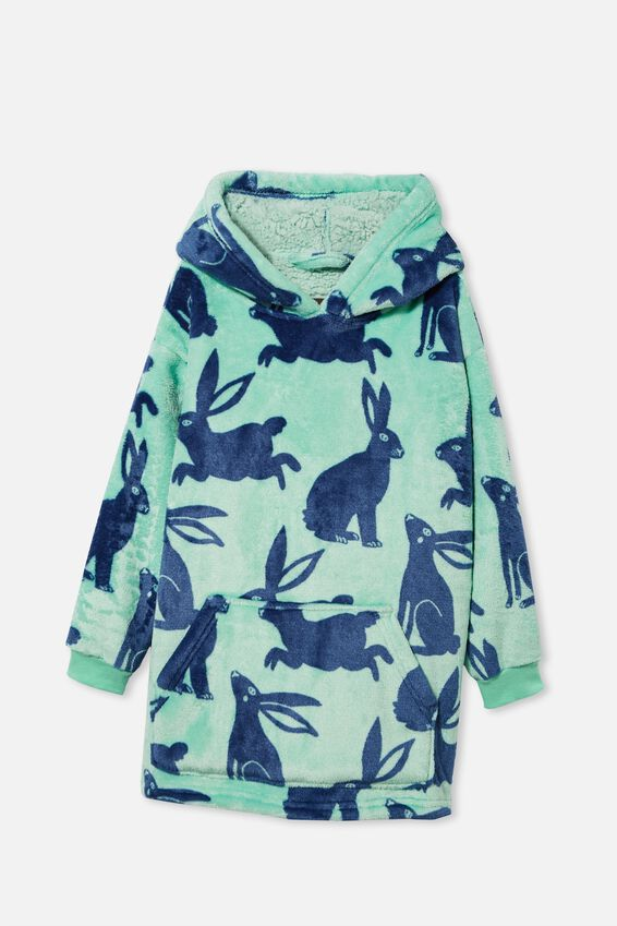 Personalised Kids Snugget Oversized Hoodie, BUNNY SILHOUETTE/MINT BREEZE