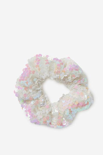 Bow Scrunchie, WHITE/SEQUIN