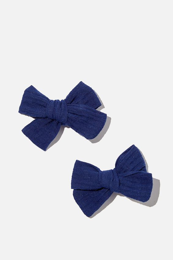 Big Bow Clips - Cheesecloth, NAVY CHEESECLOTH