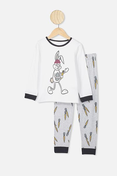 Orlando Long Sleeve Pj Set, WHITE/SUMMER GREY MARLE SOME BUNNY