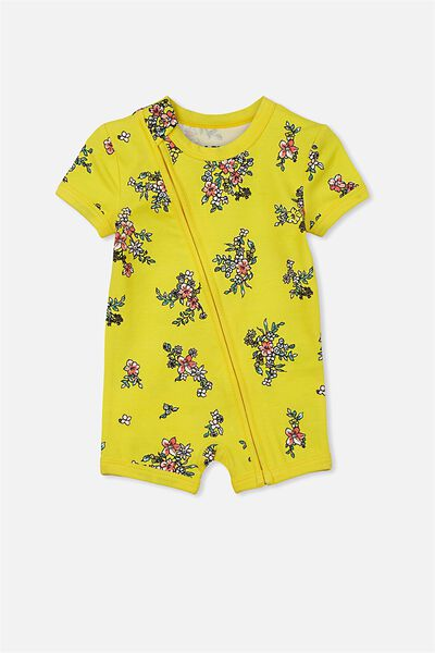 Mini Ss Zip Through Romper, LEMON ZEST/FLORAL GARDEN