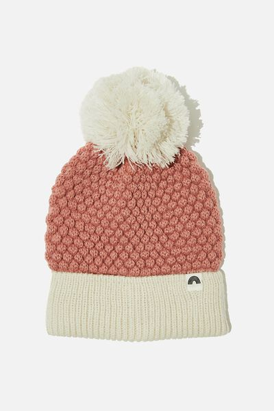 Winter Knit Beanie, CLAY PIGEON PINEAPPLE KNIT