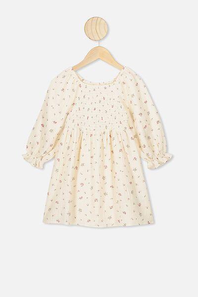 Lillie Long Sleeve Dress, DARK VANILLA/FLORAL FIELDS MINI