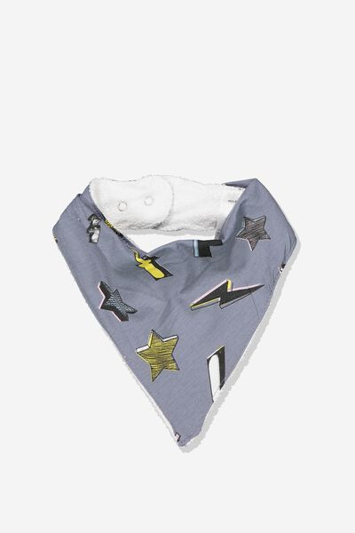 Dribble Bib, STEEL WASH/STARS AND BOLTS