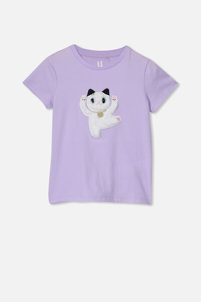 Stevie Ss Embellished Tee, BABY LILAC/LUCKY CAT/MAX