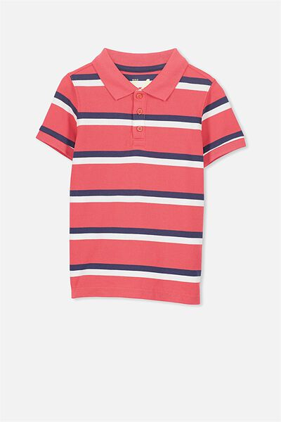 Kenny3 Polo, BONFIRE RED/NAVY STRIPE