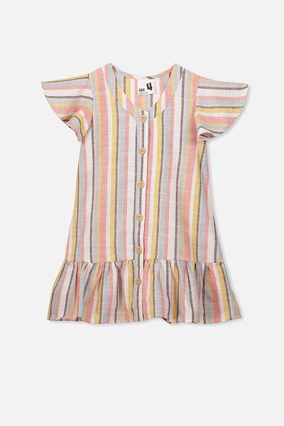 Lola Short Sleeve Dress, MULTI STRIPE