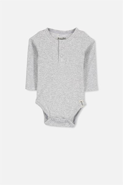 Mini Long Sleeve Henley Bubbysuit, CLOUD MARLE