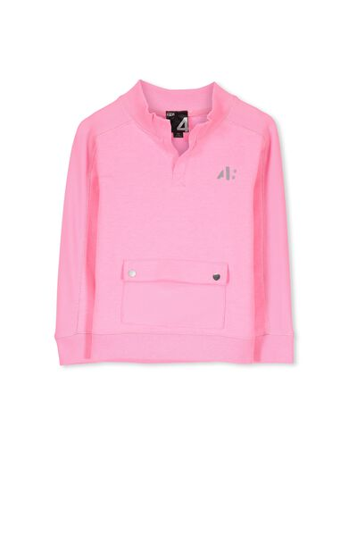 Active Mesh Panel Sweater, HIGHLIGHTER PINK/MESH