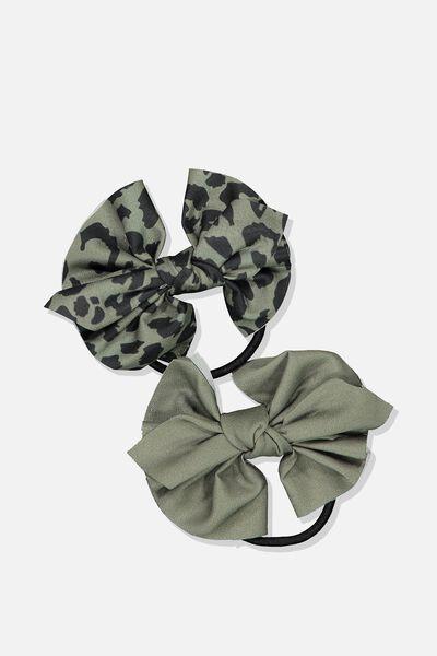 Bow Hair Tie, KHAKI/ANIMAL