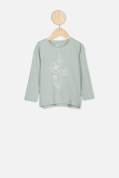 Penelope Long Sleeve Tee, STONE GREEN/FLOWER OUTLINE